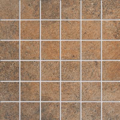 Beschreibung:  Rotbraun Format: 5 x 5 cm, Mattengröße:30 x 30 cm  Material: Feinsteinzeug, kalibriert R-Klasse 10 B durchgefärbt